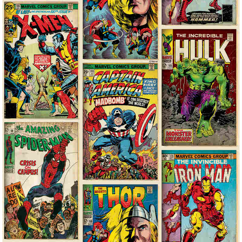 Comic Book Cover Paper : Marvel action heroes wallpaper decorating diy