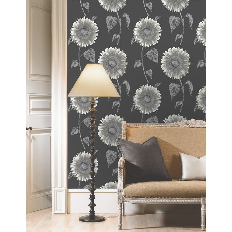 Sunflower Motif Wallpaper Silver Diy Wallpaper B Amp M