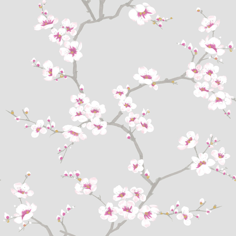 Fresco Apple Blossom Tree Wallpaper Grey Decorating Diy