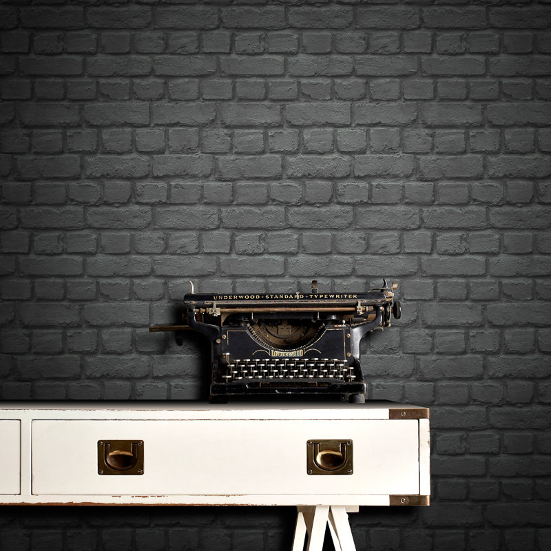 Rasch brick wallpaper black decorating diy for Black 3d brick wallpaper