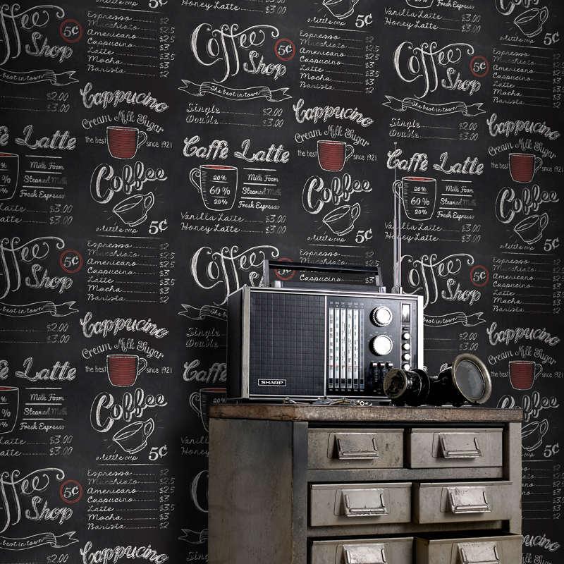 Rasch Coffee Shop Wallpaper Black Decorating Diy
