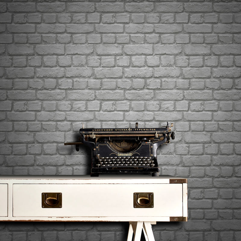 Rasch Brick Wallpaper - Grey