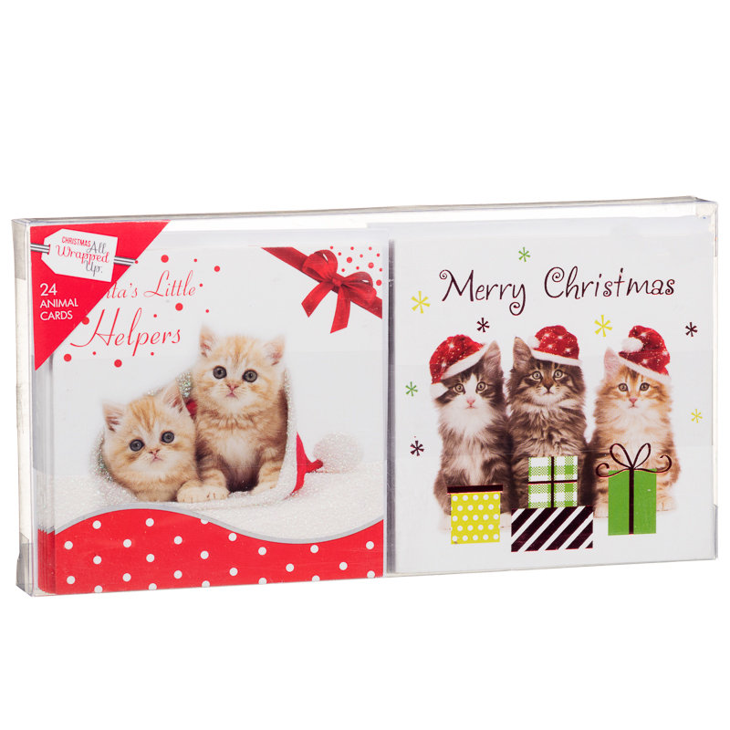 Glitter Animal Christmas Cards 24pk