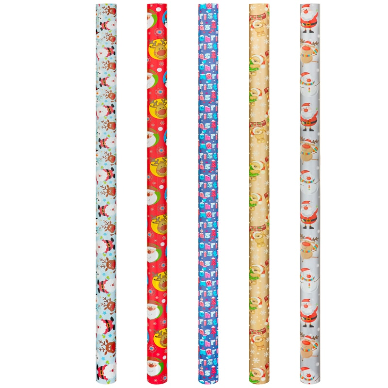 Christmas Extra Wide Wrapping Paper 5m - Santa Blue
