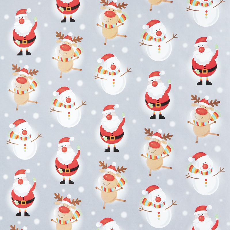 Christmas Extra Wide Wrapping Paper 5m - Santa Silver