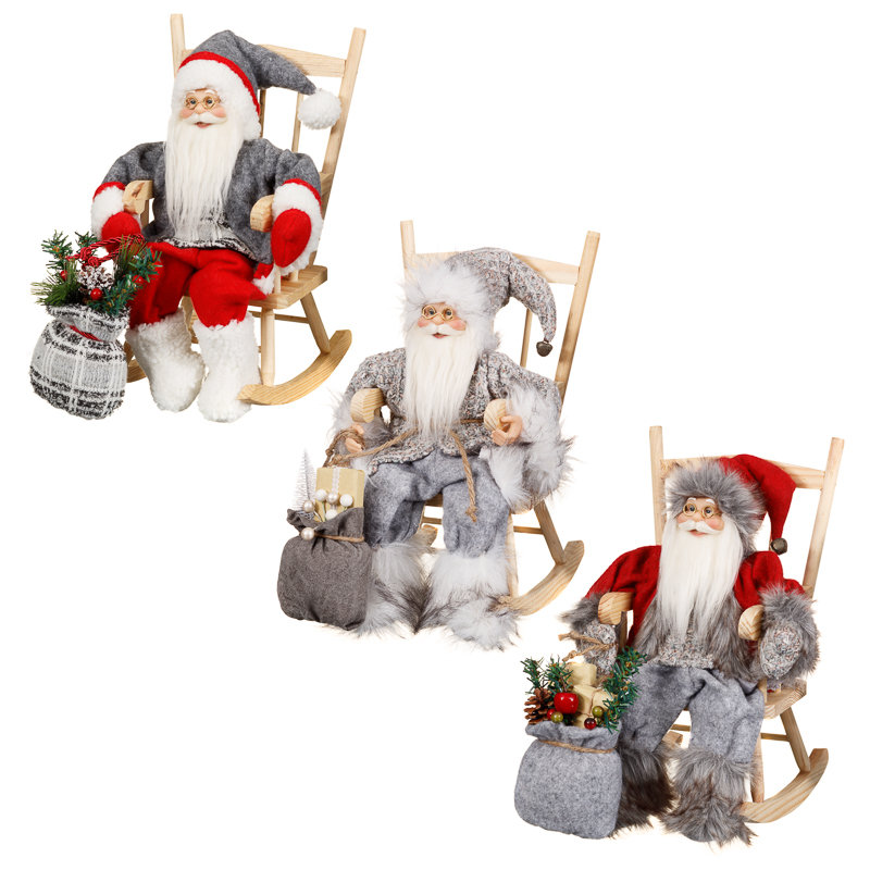 Woodland santa on rocking chair decorations b m for B m christmas decorations