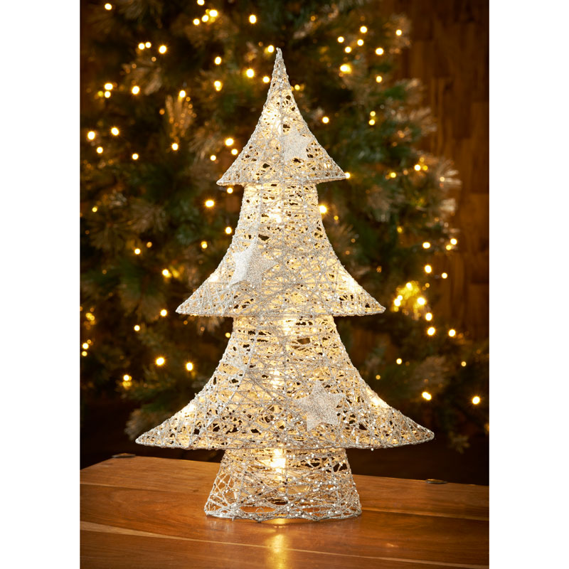 Light Up Rattan Tree Silver Christmas Room Decorations