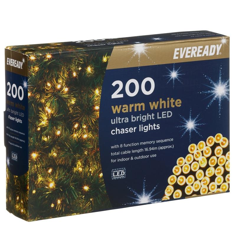 Chaser Christmas Lights.Eveready Ultra Bright Led Chaser Lights 200pk Warm White
