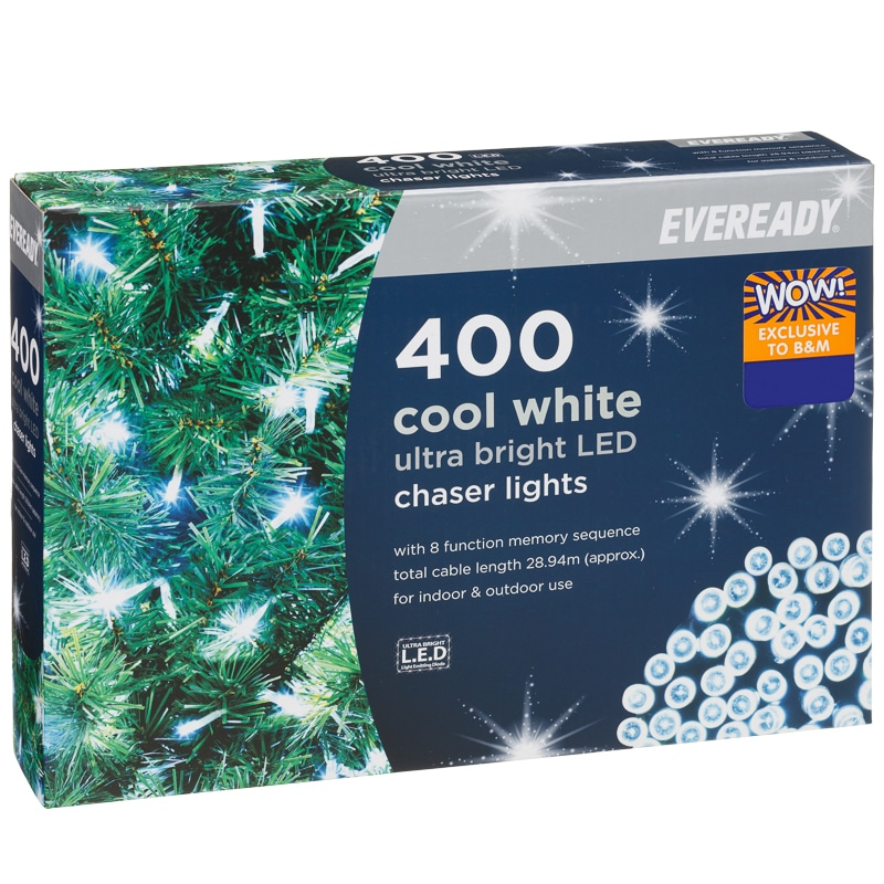 Eveready Led Chaser Lights 400pk Cool White Xmas