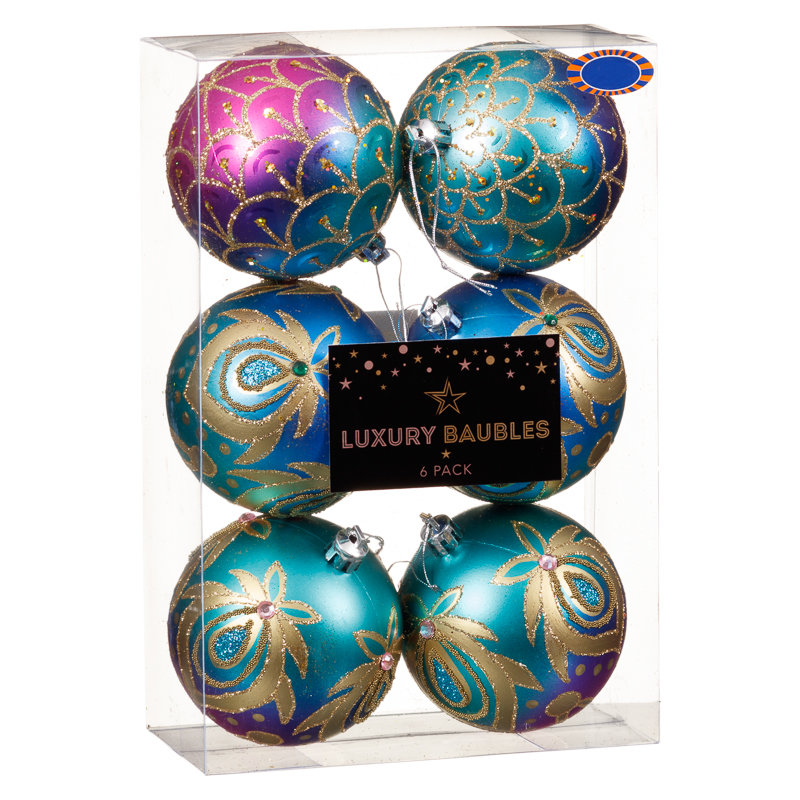 Fashion christmas baubles 6pk 80mm tree decorations b m for B m christmas decorations