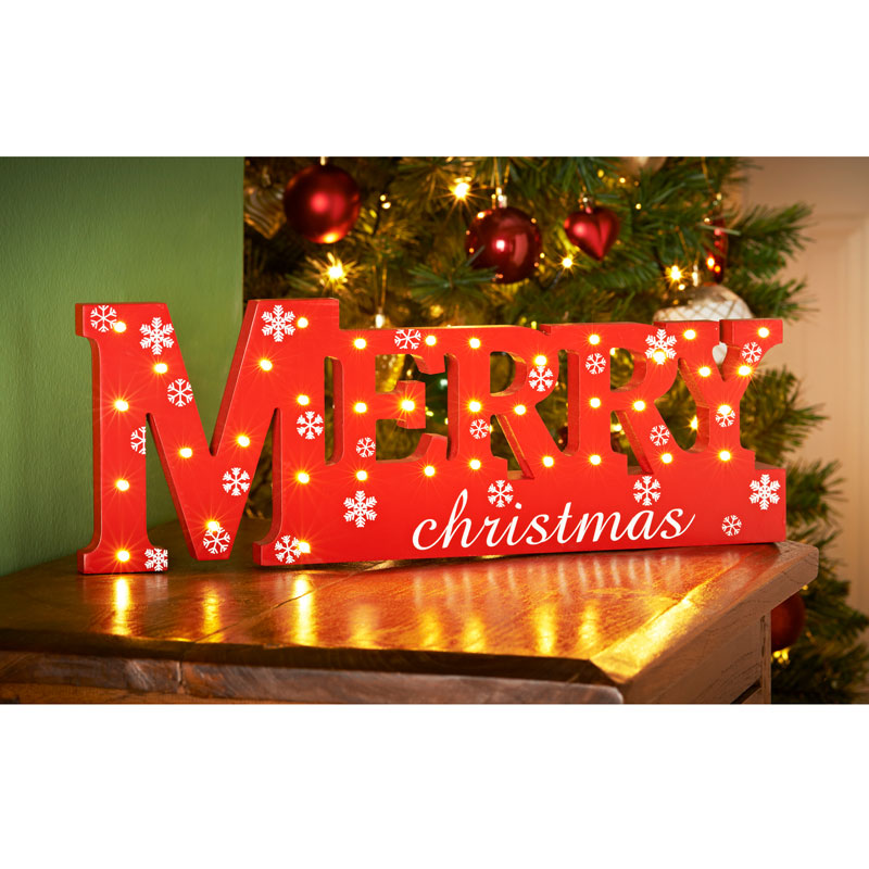 Wooden Light Up Merry Christmas Christmas Room Decorations