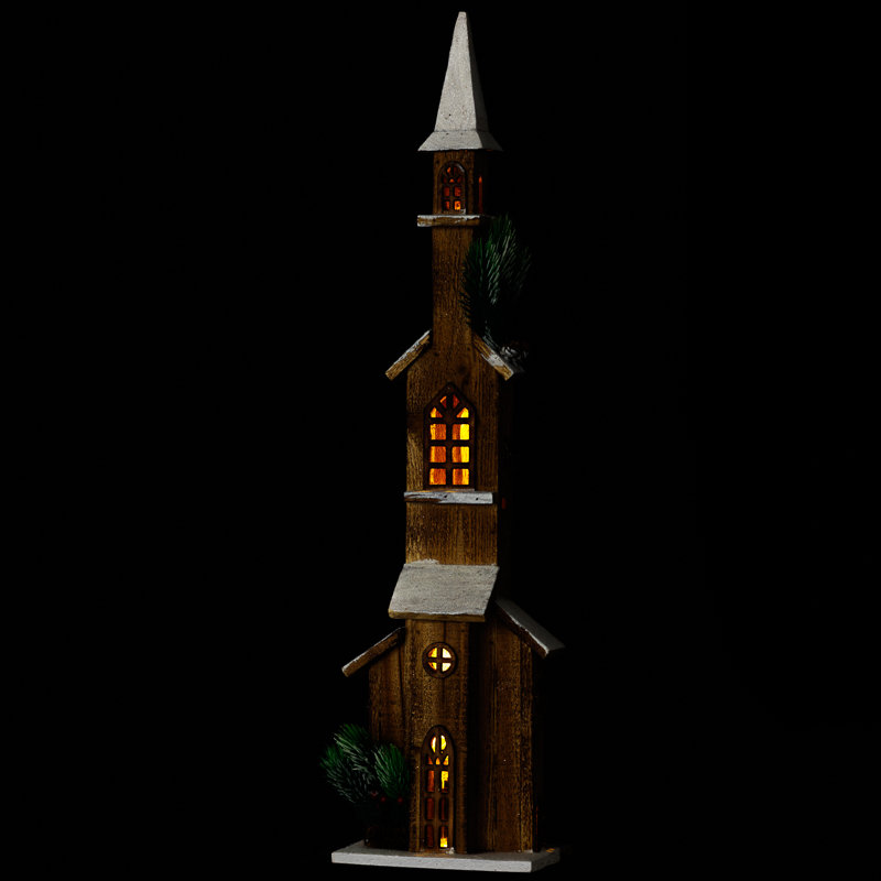 Light up tall wooden steeple christmas decorations b m for B m christmas decorations