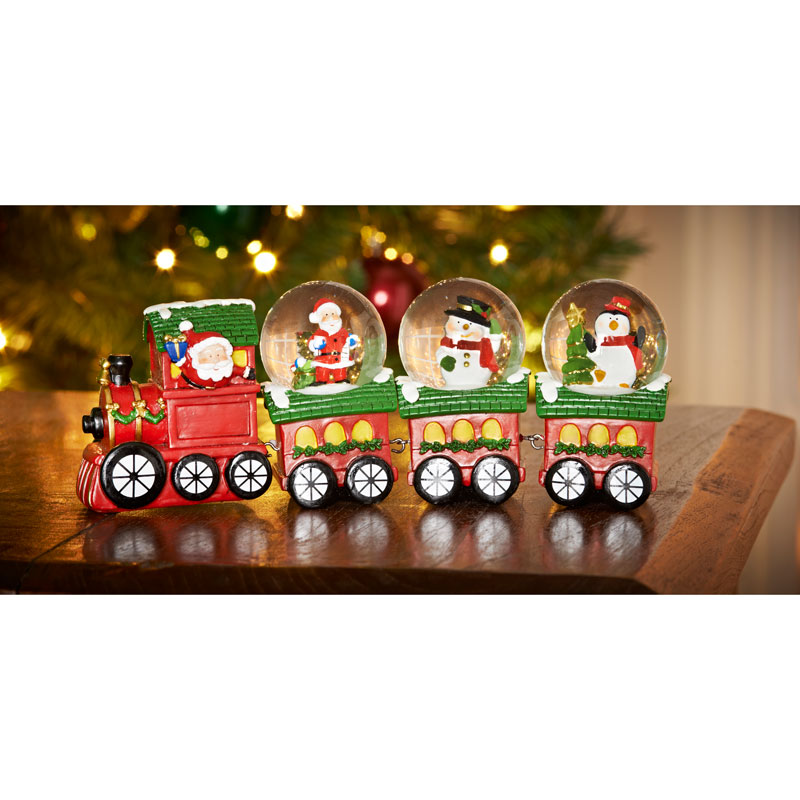 Snow globe train ornament 4pc christmas decorations b m for B m christmas decorations