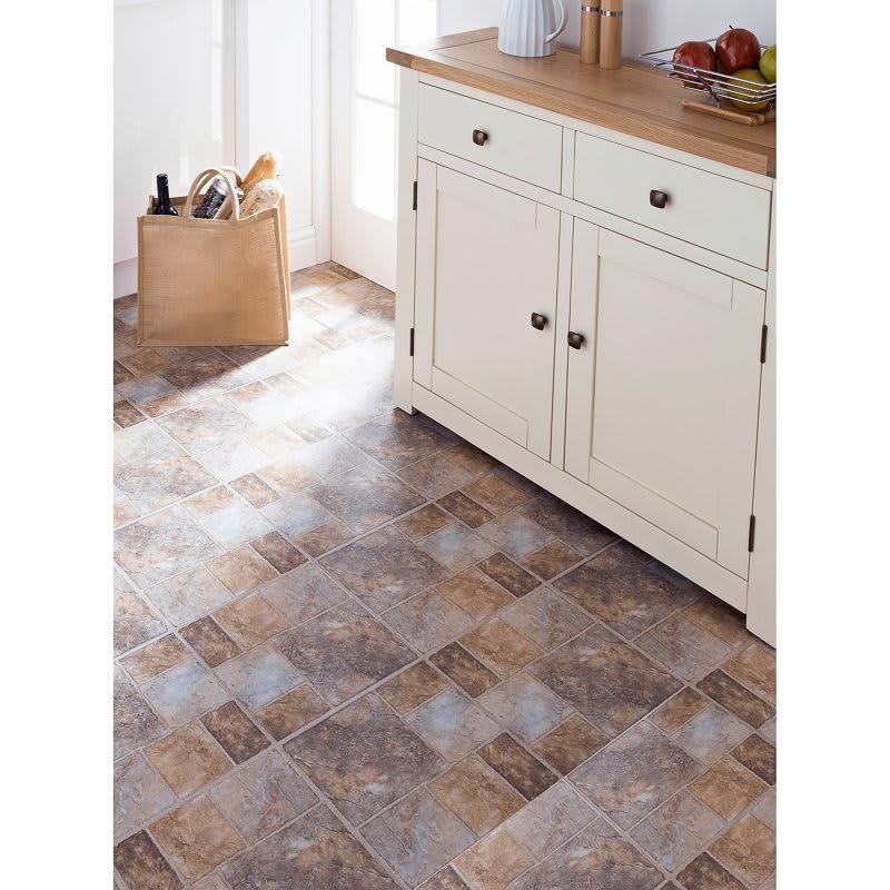 Self Adhesive Floor Tiles Cream Stone Effect