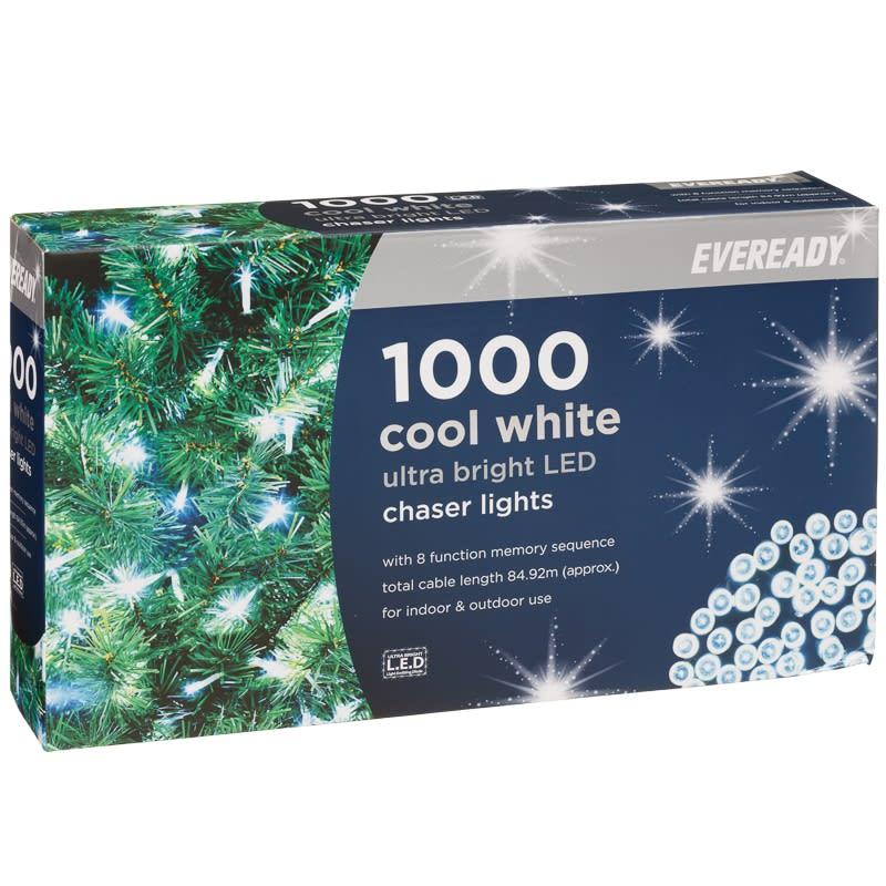 Chaser Christmas Lights.Eveready Ultra Bright Led Chaser Lights 1000pk Cool White