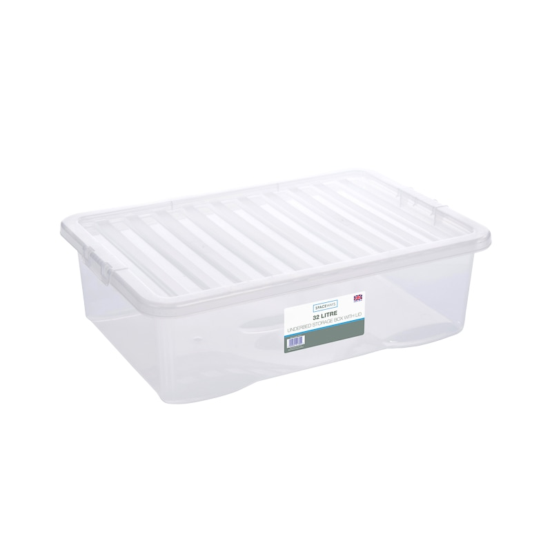 Underbed Clear Storage Box with Lid 32L | Home | Storage - B&M