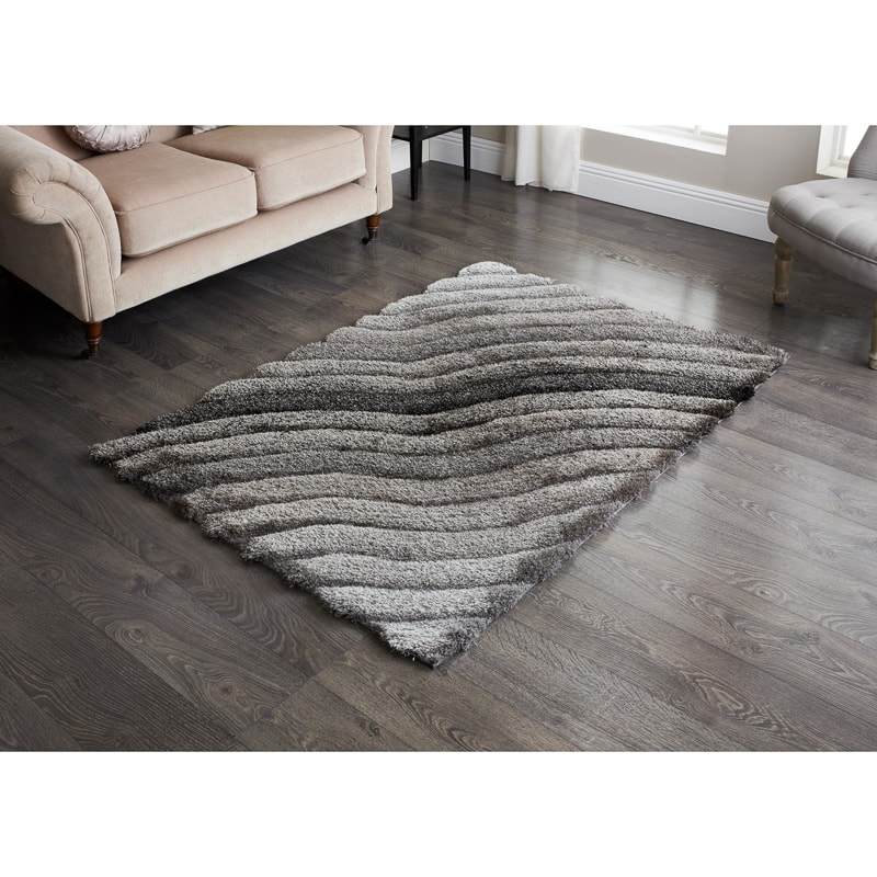 Home Furniture Rugs: Sculptured Metallic 3D Rug - 110 X 160cm