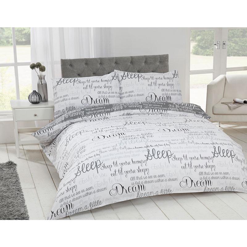 Script Luxury Double Duvet Set Bedding Bedroom