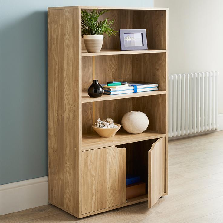 314772 Turin Bookshelf Oak Finish