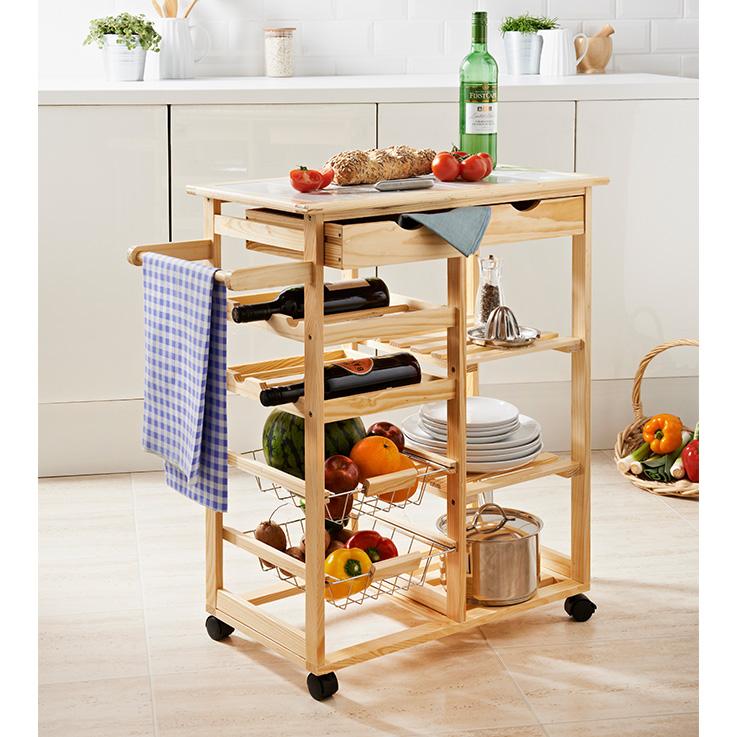 Roots Rack Kitchen Cart Pine: Kitchen Funriture, Storage - B&M
