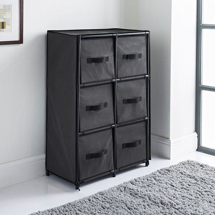 Spaceways Canvas 6 Drawer Unit Grey Storage Furniture