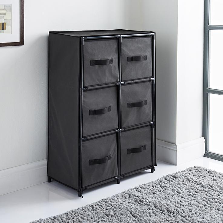 Canvas 6 Drawer Unit Grey Storage Furniture