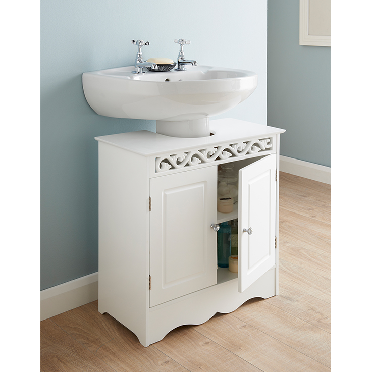 Luxury floral under sink basin storage unit bathroom white for Bathroom under sink storage