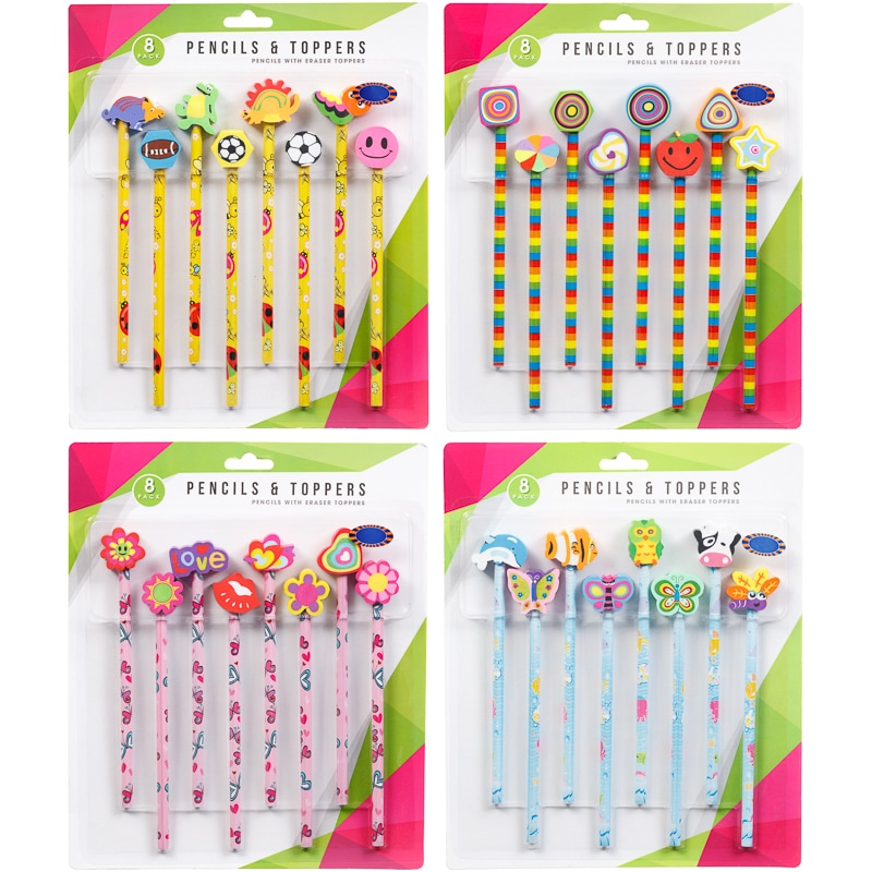 pencil amp eraser toppers 8pk pencil toppers stationery   b amp m