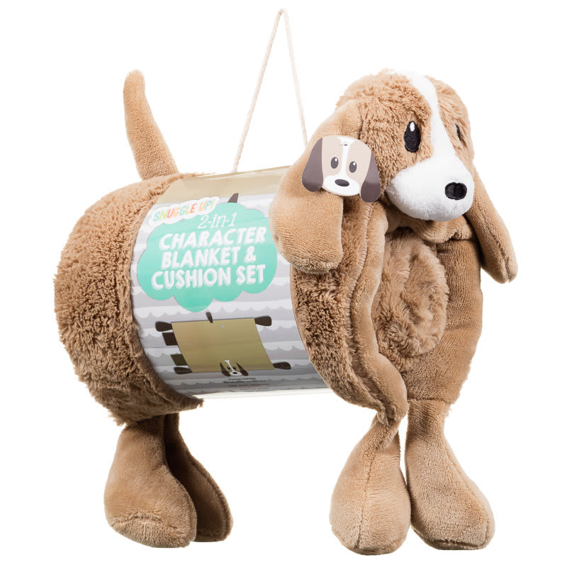Animal 2 In 1 Character Blanket Amp Cushion Set Dog Baby