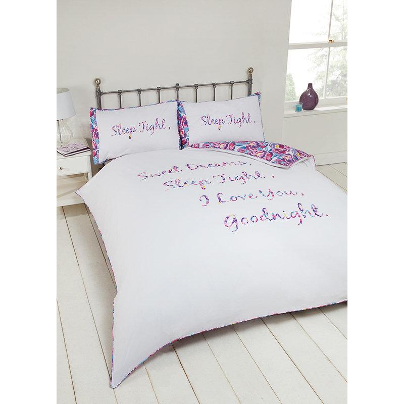 Amelia Slogan King Size Duvet Set Bedding Duvet Covers