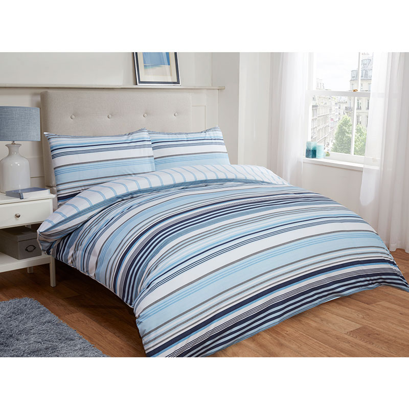 Tribeca Stripe Double Duvet Set Twin Pack Blue Bedding B Amp M