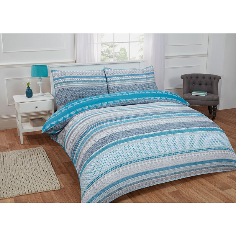 Textured Stripe Double Duvet Set Twin Teal Bedding B Amp M