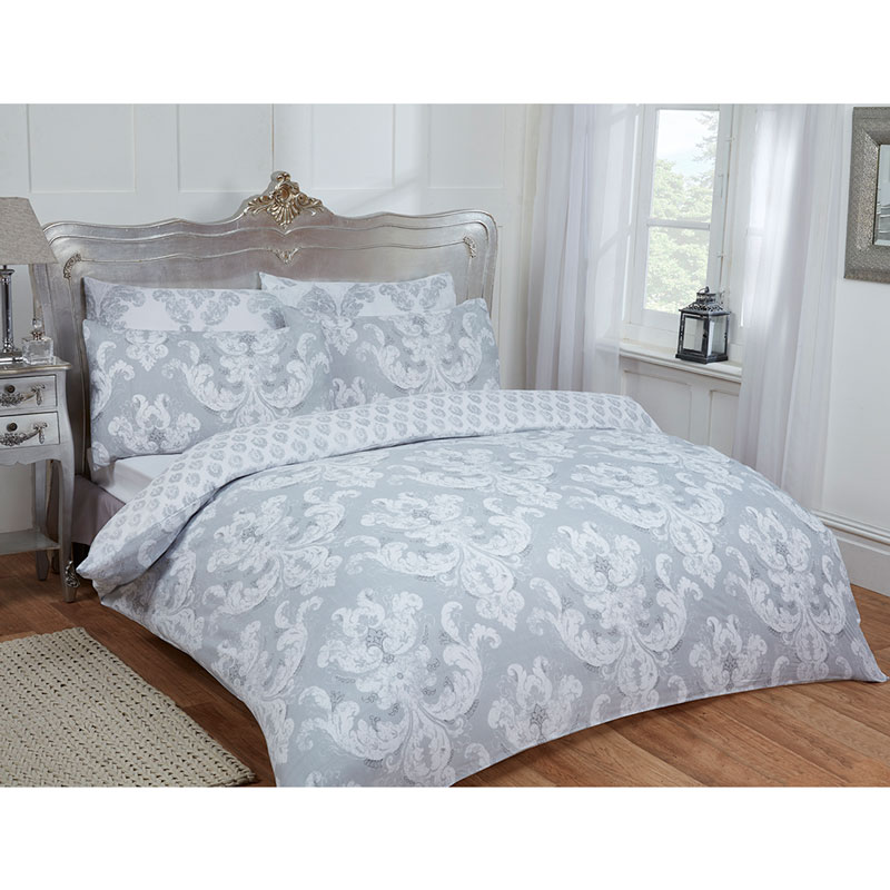 damask double duvet set twin grey bedding b m. Black Bedroom Furniture Sets. Home Design Ideas