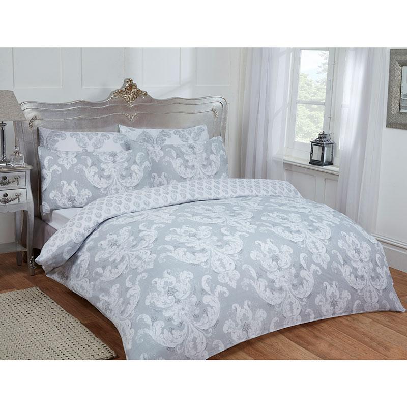 Gray Double Comforter : Damask double duvet set twin grey bedding b m