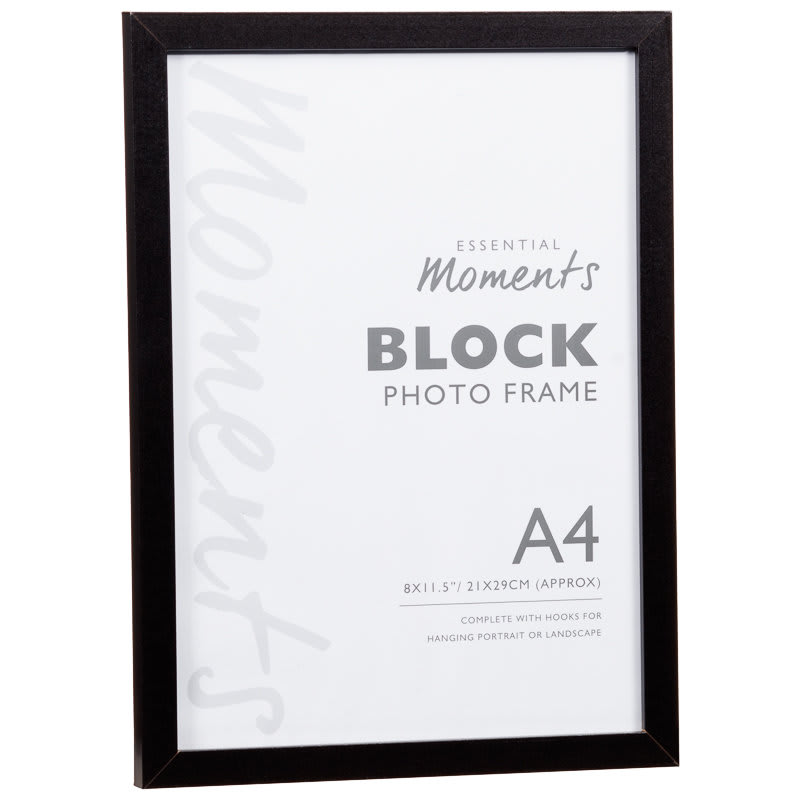 Block A4 Photo Frame Black Home Decor Photoframes