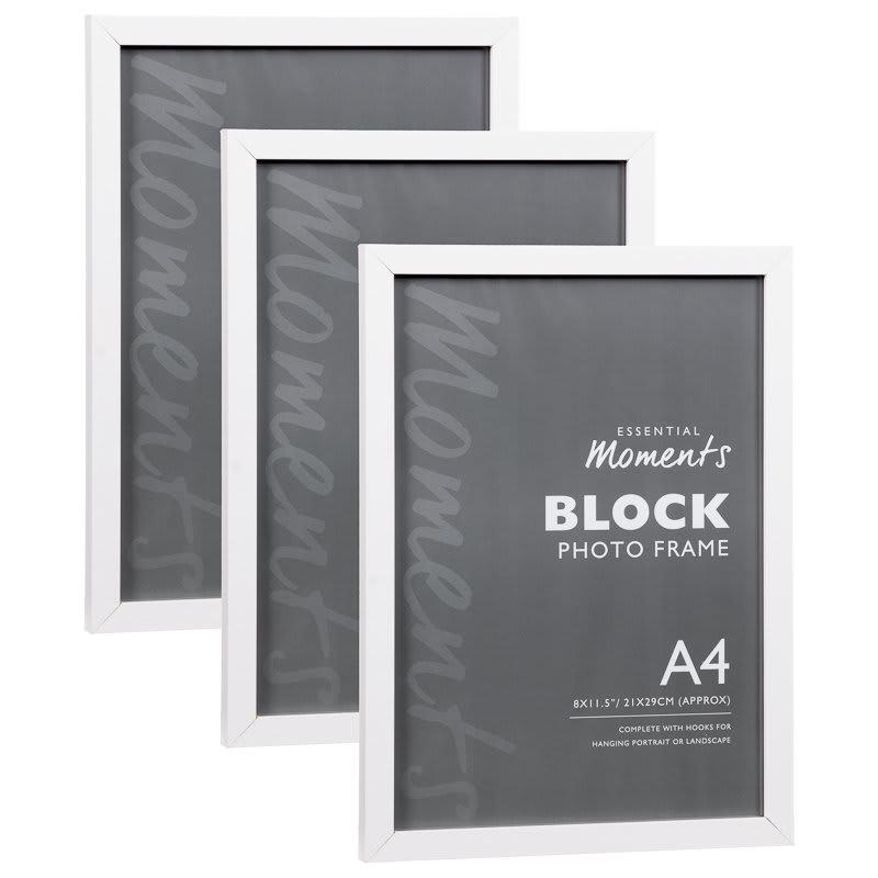 Block A4 Photo Frame White Home Decor Photoframes