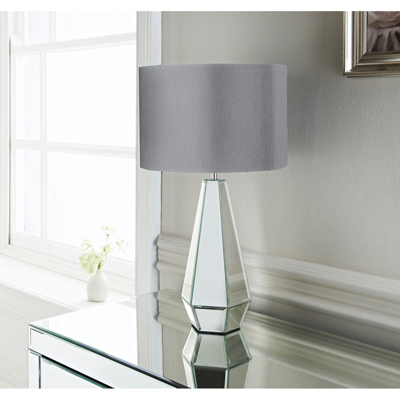 Cara Faceted Mirror Table Lamp Lighting Home B Amp M