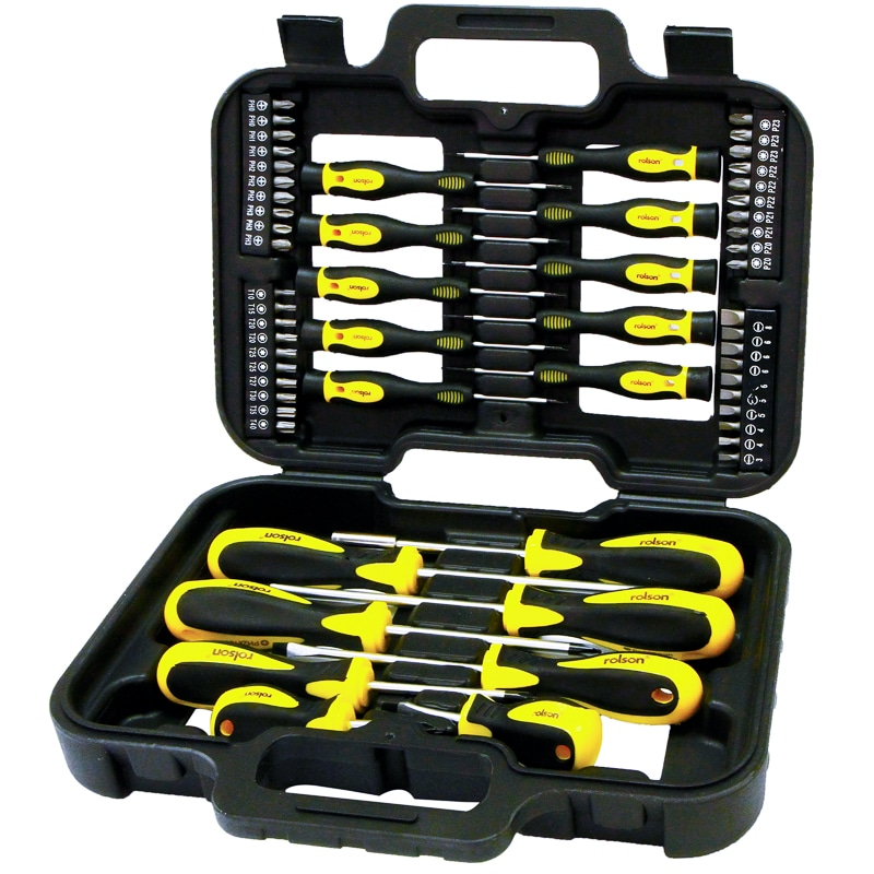 rolson screwdriver bit set 58pc hand tools decorating tools. Black Bedroom Furniture Sets. Home Design Ideas