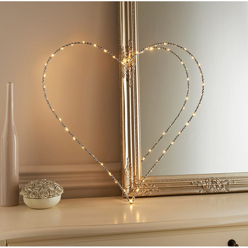 Light Up Glitz Wire Heart Sign