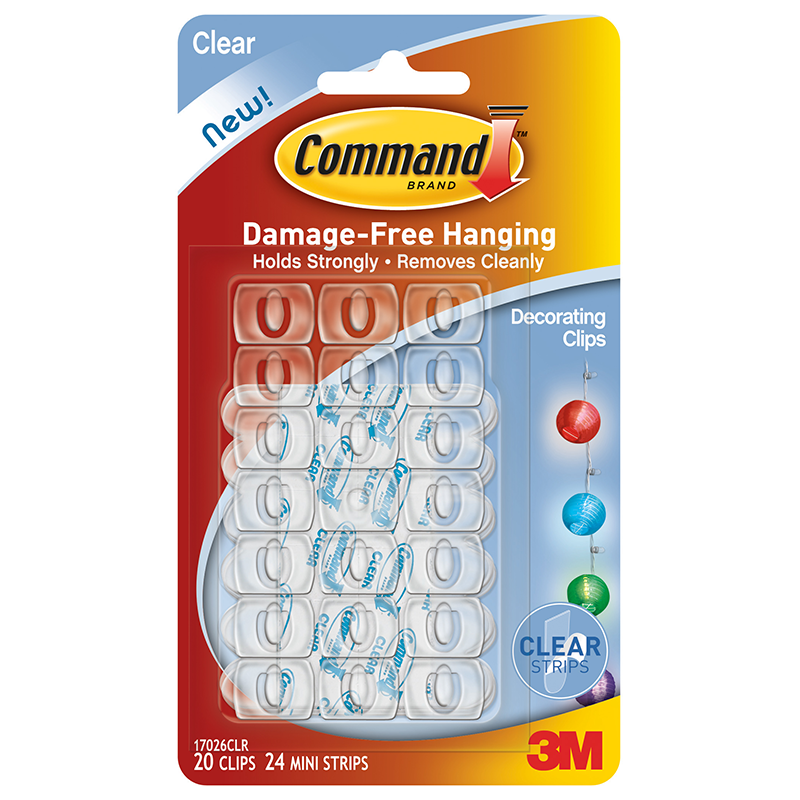 Command decorating clips clear 20pk diy hooks bm click on image to enlarge publicscrutiny Image collections