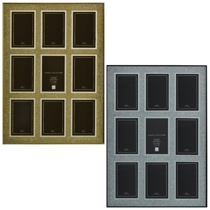 Glitter 9 Aperture Box Photo Frame 4 x 6\