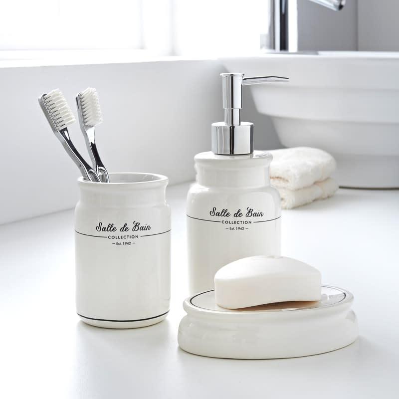 Set Salle De Bain.Salle De Bain Bathroom Set 3pc White