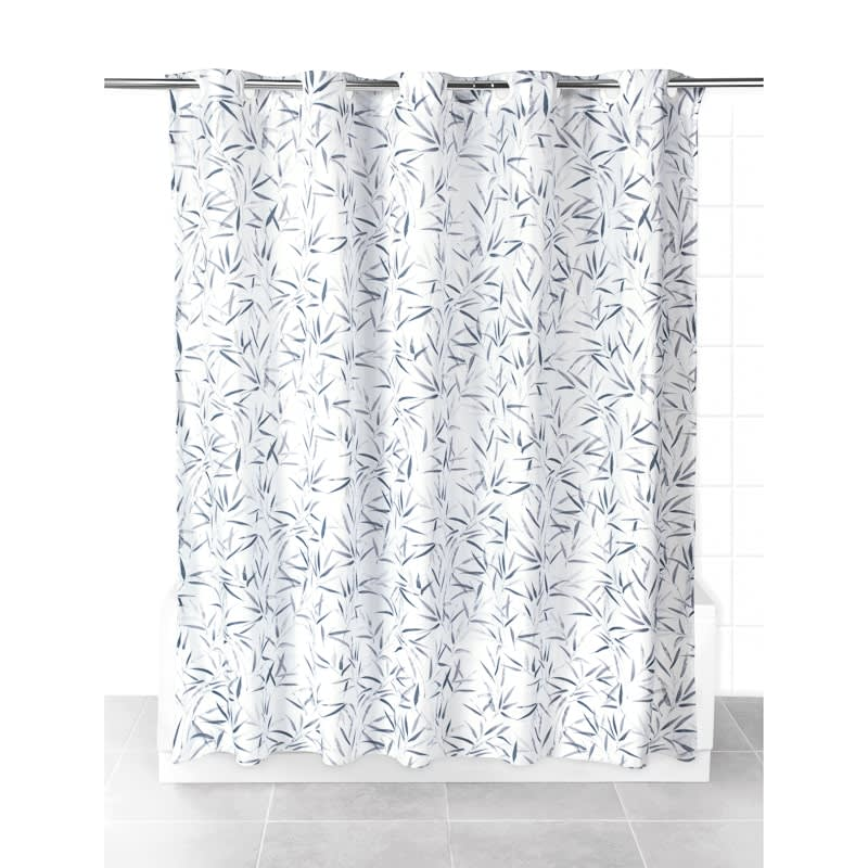 Beldray Hookless Shower Curtain Bamboo Leaves Bathroom