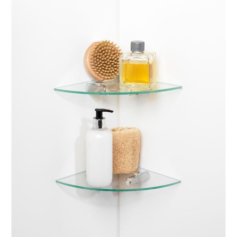 beldray two tier glass corner shelves