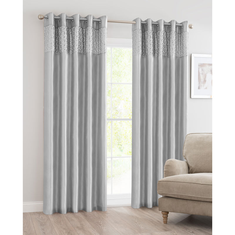 B Amp M Luxor Sequin Top Border Thermal Eyelet Curtain 90 X 90