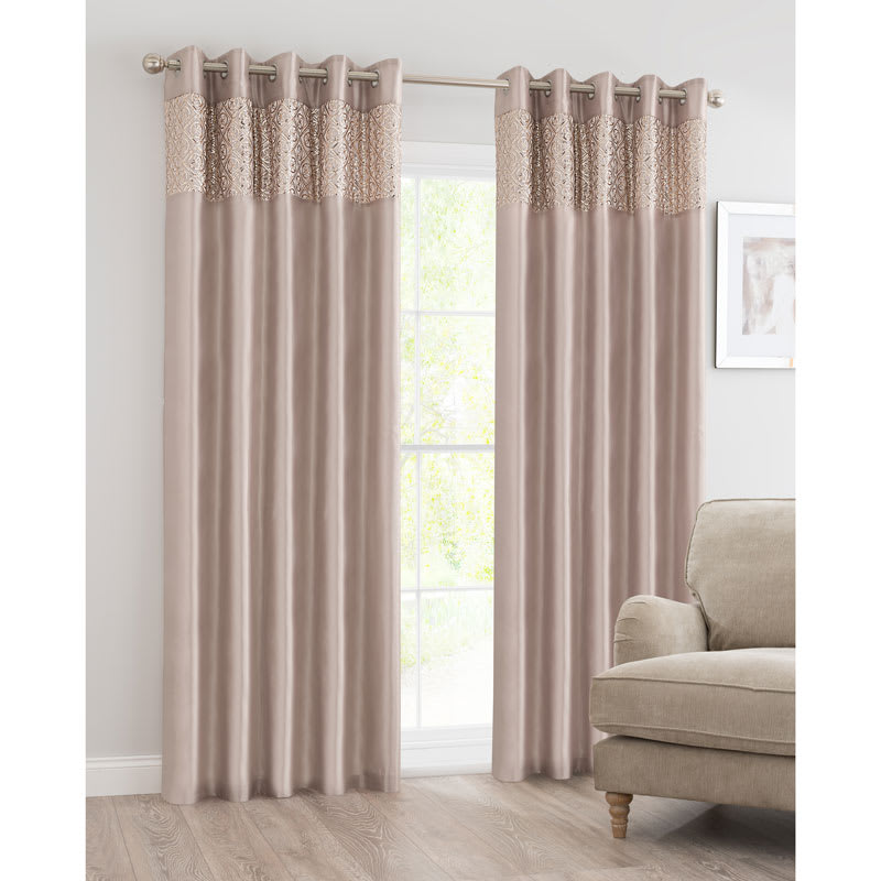 BampM Luxor Sequin Top Border Thermal Eyelet Curtain 66 X 72