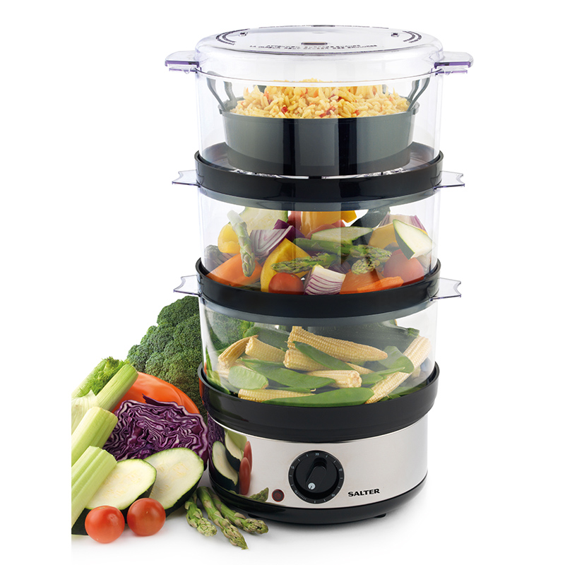 Salter 3 tier food steamer home cooking b m for Steamer cuisine