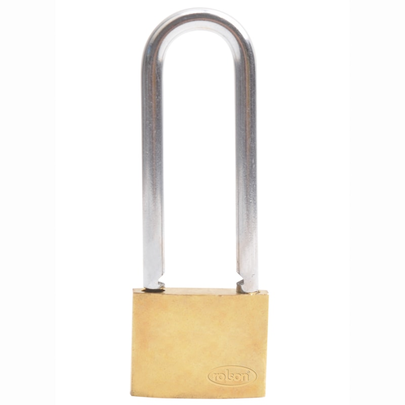 Rolson Brass Long Shackle Padlock 40mm