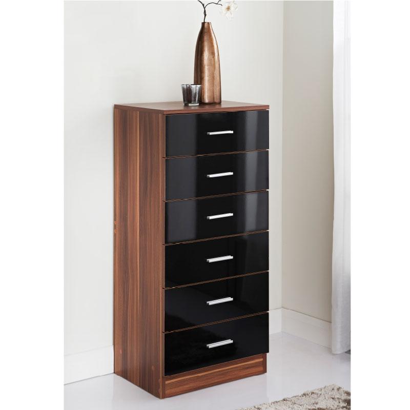 Hugo 6 drawer bedside table bedroom furniture b m for B m bedroom furniture