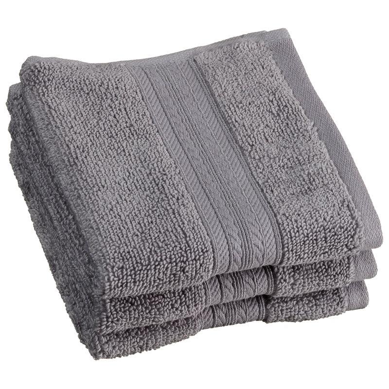 Signature Zero Twist Face Cloth 3pk Grey Bathroom